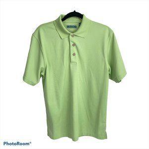 Cubavera Green Ribbed Polo Tee Shirt M